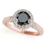 1.25 Ct. Halo Black Diamond Engagement Ring Crafted In 14k Solid Gold