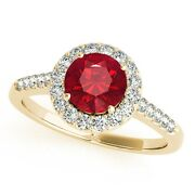 1.20 Ct. Halo Created Ruby And Diamond Engagement Ring In 14k Solid Gold