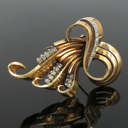 1950andrsquos Retro 1.20ct Old Cut Diamond And 18k White And Yellow Gold Ribbon Brooch
