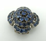 Vintage 4.50ct Natural Blue Sapphire And 14k White Gold Cluster Pin