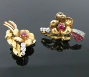 1940andrsquos 0.45ct European Cut Diamond And 0.40ct Ruby 14k Gold Clip Earrings