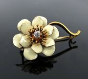 Antique 0.12ct Old Mine Cut Diamond And Enamel 14k Yellow Gold Brooch