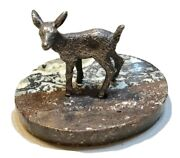 Vintage Russian Silver 84 Figurine Statue Deer On Marble Base Old Antique