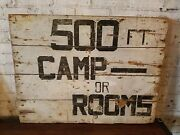 Stunning Antique Tourist Trade Sign Promoting Camp Rooms And Cabins