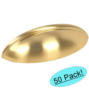 50 Pack Cosmas Cabinet Hardware Brushed Brass Bin Cup Handle Pulls 1399bb