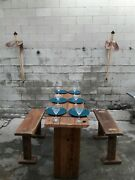 3 In 1 Rustic Out/indoor Furniture Table Set