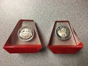 2 Coca Cola 1975 1976 Santa Christmas Round Silver Bar Coin Lucite Paper Weight