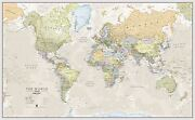 Classic World Map Poster Print Art Map For Office Choose Size Finish