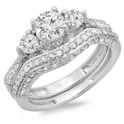 1.75 Carat 14k Gold Diamond Ladies Vintage 3 Stone Bridal Engagement Ring Set