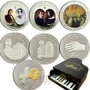 Frederic Chopin Anniversary 8 Silver Coin Set With Piano Case Extremelly Rare