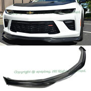 For 16-up Chevy Camaro Ss V8 R Style Carbon Front Bumper Lip W/ Side Splitters