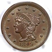 1849 N-2 Pcgs Ms 63 Bn Cac Braided Hair Large Cent Coin 1c