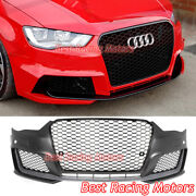 Rs3 Style Front Bumper Cover + Gloss Black Grille + Lip Fit 14-16 Audi A3 S3 8v