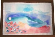 Joy Laville 22 X 15 Gouache On Thick Paper Painting Signed