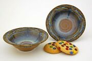 """BILL CAMPBELL Pottery 6.5"""" - 1.33 Cup Small  CARVED bowl GREAT Gift SET of 2 !"""