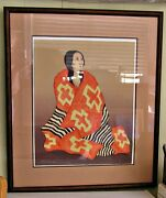R. C. Gorman Pencil Signed And Numbered Ltd. Ed. Chiefand039s Blanket State Ii