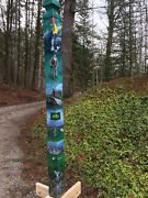 Original Hand Painted Signed St. Andrew Augusta Palmer Peace Pole Golf Art