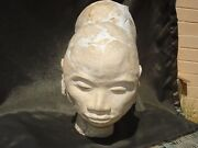 Early Rose Cabat Hand Made Sculpture Studio Pottery Head Woman Mcm Vintage 1940