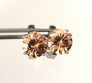 Stunning 925 Sterling Silver Shampaine Color Round Stone Omega Back Earrings