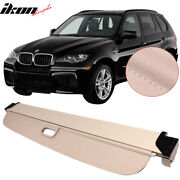 Fits 07-13 Bmw E70 X5 Beige Retractable Rear Trunk Luggage Cargo Cover - Pu