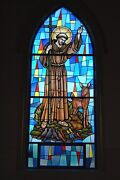 + Nice Stained Glass Church Window St. Francis Of Assisi + Chalice Co. 4