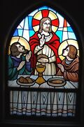 + Nice Stained Glass Church Window Jesus The Last Supper + Chalice Co. 10