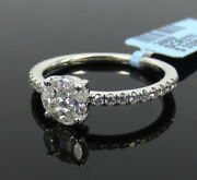 Fine 0.65ct Mixed Shape Diamond And 14k White Gold Ring Size 6.75