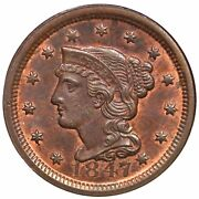 1847 N-7 R-2+ Ngc Ms 64 Rb Braided Hair Large Cent Coin 1c