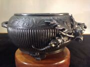 Antique Adelphi Footed Pewter Silver Plate Metal Bowl Hand Made Signed 01517
