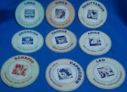 9 Old Vintage Round Coasters Of Welcome Co. With Images Of Zodiac Signs From Ind