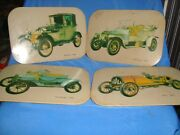 4 Old Vintage Big Size Tin And Cork Vintage Cars Coasters From India 1950