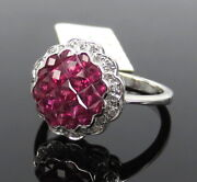 Invisible Set 1.74ct French Cut Ruby And 0.08ct Diamond 18k White Gold Ring Size 7