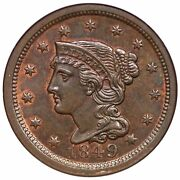 1849 N-29 R-2 Ngc Ms 65 Bn Braided Hair Large Cent Coin 1c