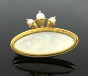 Rare Elizabeth Locke Pearl And Mother Of Pearl 18k Yellow Gold Hammered Brooch