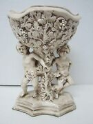 ITALIAN CERAMIC ART POTTERY CHERUB ANGEL PEDESTAL VASE/PLANT HOLDER ~ MINT!