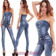 Overall Woman Jumpsuit Full Bandeau Skinny Stretch Buttons Sexy New H559