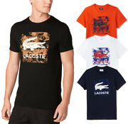 Mens Lacoste Graphic T-shirt 100 Cotton Short Sleeve Tee Lacoste Logo New