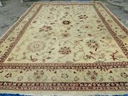 10and039 X 14and039 Vintage Hand Knotted Made Indian Agra Wool Rug Vegetable Dyes