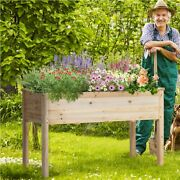 Garden Wooden Planter Kit Outdoor Flower Raised Bed For Herb Grow Box Container