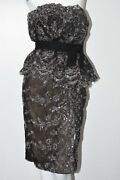5600 New Marchesa Strapless Lace Cocktail Dress Embroidered Sequin Bow Black 6