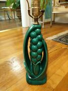 Vintage Green Table Lamp Art Deco Botanical Lily of the Valley Art Pottery