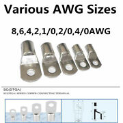 Tinned Copper Cable Lugs Ring Terminals Various Awg Sizes For Welding / Battery