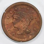 1855 N-4 Pcgs Ms 64 Rb Braided Hair Large Cent Coin 1c