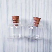 Lot Of 50 10ml Clear Glass Bottle With Cork Empty Jar Small Message Vial 30x30mm