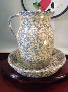 Robinson Ransbottom Pottery Roseville Blue Spg. Ware 10 Pie Plate And 2qt Pitcher