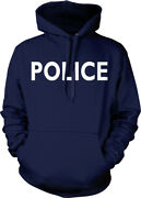 Police White Letters Dept Officer Cop Force Serve Protect Am Hoodie Sweatshirt
