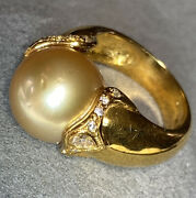 18k Yellow Gold Huge 13+mm Rare Golden South Sea Pearl Diamond Cocktail Ring
