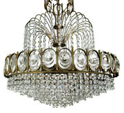 Palwa Chandelier 8 Tier Gold Plated Crystal Prisms 1960s Germany Htf