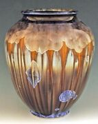 """BILL CAMPBELL  10 1/2""""  Classic Vase Pottery Crystalline Porcelain ACTUAL PC"""