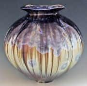 """BILL CAMPBELL 12""""  Vase Pottery Glazed Crystalline Porcelain RARE Actual Piece !"""